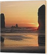 The Sun Sets Over The Sea Stacks Wood Print