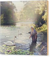 The Swan And The Fairy  Wood Print