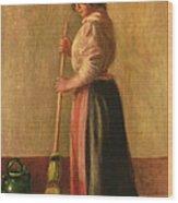 The Sweeper Wood Print by Pierre Auguste Renoir