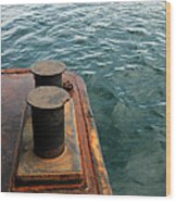 The Tether Strap On A Pontoon Boat Wood Print