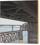 The Three Benicia-martinez Bridges In California - 5d18844 Wood Print
