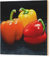 The Three Peppers Wood Print