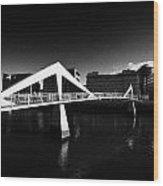 The Tradeston Bridge Pedestrian Bridge Over The River Clyde To The Financial District Of Glasgow Sco Wood Print