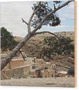 The Tree In Desert Wood Print