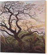 The Tree Of Crows Wood Print by Caspar David Friedrich