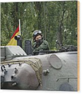 The Turret Of The Leopard 1a5 Mbt Wood Print by Luc De Jaeger