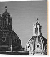 The Twin Domes Of S. Maria Di Loreto And Ss. Nome Di Maria Wood Print
