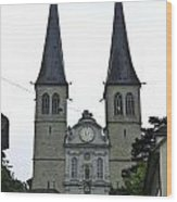 The Twin Spires Of Hof Church In Lucerne Wood Print