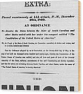 The Union Is Dissolved, 1860 Broadside Wood Print