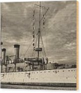 The Uss Olympia Black And White Wood Print by JC Findley