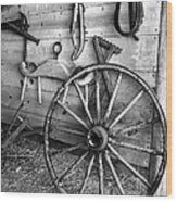 The Wagon Wheel Bw Wood Print
