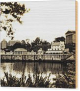 The Waterworks In Sepia Wood Print