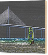 The Wind Surfer Wood Print by David Lee Thompson