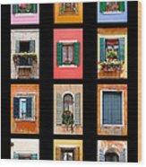 The Windows Of Venice Wood Print