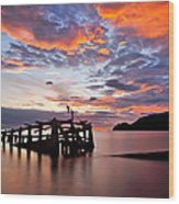 The Wreck In Sea With Fantastic Sky Wood Print by Arthit Somsakul