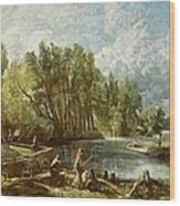 The Young Waltonians - Stratford Mill Wood Print by John Constable