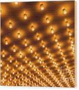 Theater Marquee Lights In Rows Wood Print
