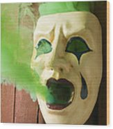 Theater Mask Spewing Green Smoke Wood Print by Garry Gay