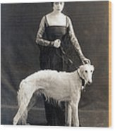 Theda Bara With Her Russian Wolfhound Wood Print