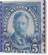 Theodore Roosevelt Postage Stamp Wood Print