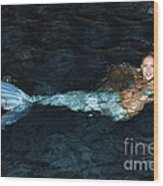 There Is A Mermaid In The Pool Wood Print