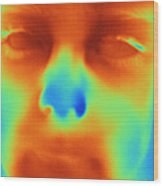 Thermogram Of A Boys Face Wood Print