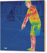Thermogram Of A Golfer Wood Print
