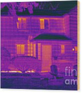 Thermogram Of A Home In Winter Wood Print