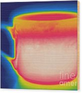 Thermogram Of A Hot Coffee Cup Wood Print
