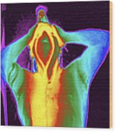 Thermogram Of A Man Taking A Shower Wood Print