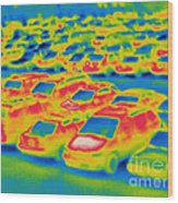 Thermogram Of A Parking Lot Wood Print