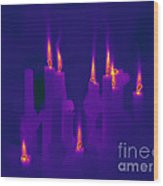 Thermogram Of Candles Wood Print