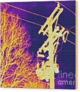 Thermogram Of Electrical Wires Wood Print by Ted Kinsman