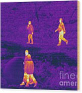 Thermogram Of People Walking Wood Print