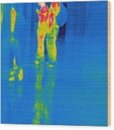 Thermogram Of Students At A Locker Wood Print