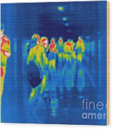 Thermogram Of Students In A Hallway Wood Print