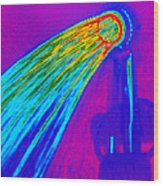 Thermogram Of Water Pouring From A Shower Head Wood Print by Dr. Arthur Tucker