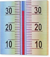 Thermometer Measuring 32 Celsius Wood Print