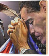 They Shall Mount Up With Wings Like Eagles -  President Obama  Wood Print by Reggie Duffie