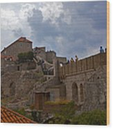 They Walk The Wall In Dubrovnik Wood Print