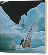 This Windsurfer In Portage Lake Wood Print by Chris Johns