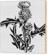 Thistle, Lino Print Wood Print by Gary Hincks