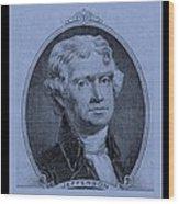 Thomas Jefferson In Cyan Wood Print