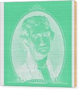 Thomas Jefferson In Negative Green Wood Print