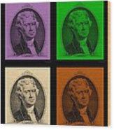 Thomas Jefferson In Quad Colors Wood Print