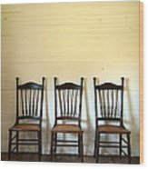 Three Antique Chairs Wood Print by Jill Battaglia