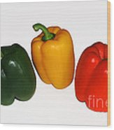 Three Bell Peppers Wood Print