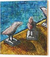 Three Birds Blue Wood Print