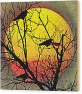 Three Blackbirds Wood Print