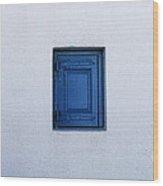Three Blue Shutters Wood Print
